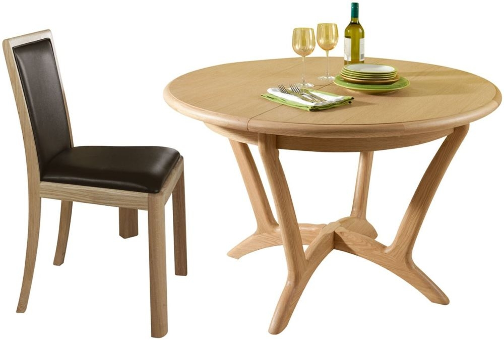 Romana Oak Round Extending Dining Set with 4 Upholstered Back Bonded Leather Chairs