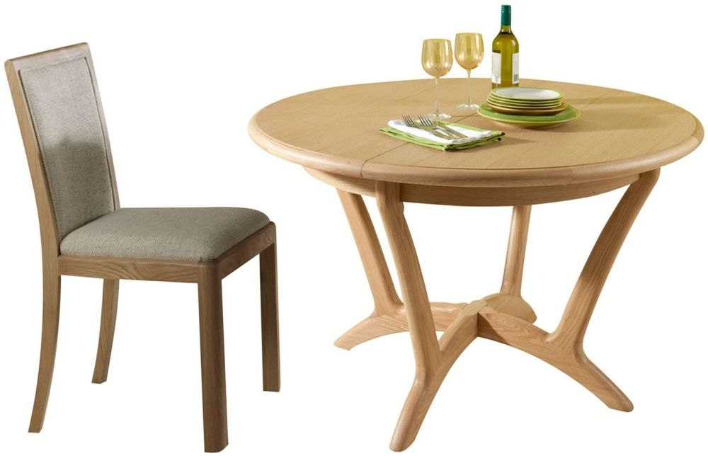Romana Oak Round Extending Dining Set with 4 Upholstered Back Fabric Chairs