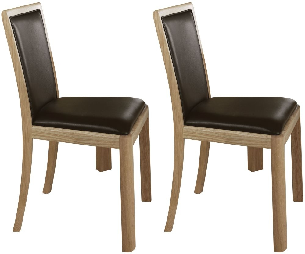 Romana Oak Upholstered Back Bonded Leather Dining Chair (Pair)