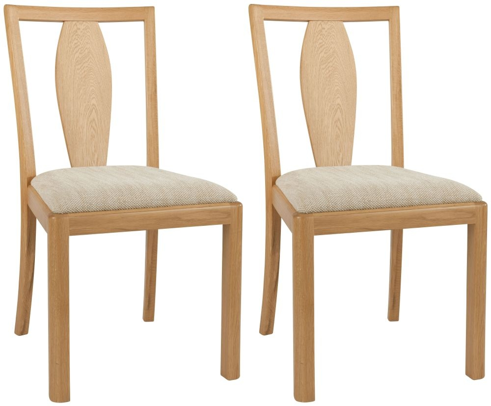 Romana Oak Wooden Back Fabric Dining Chair (Pair)