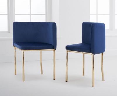 Mark Harris Abingdon Blue Velvet and Gold Dining Chair (Set of 4)