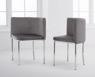 Mark Harris Abingdon Grey Velvet and Chrome Dining Chair (Set of 4)