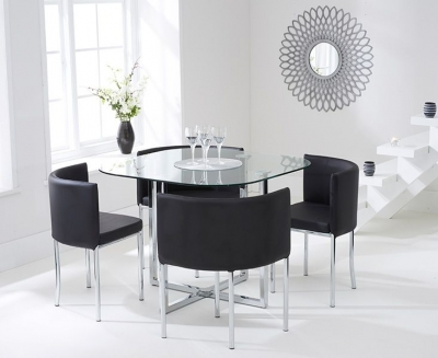 Mark Harris Abingdon Stowaway Dining Table and 4 Black Dining Chairs