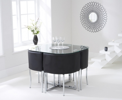 Mark Harris Abingdon Stowaway Glass Dining Table with 4 Black Chairs