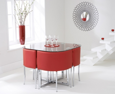 Mark Harris Abingdon Stowaway Glass Dining Table with 4 Red Chairs