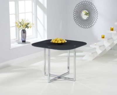 Mark Harris Abingdon Stowaway Dining Table - Grey Glass and Chrome