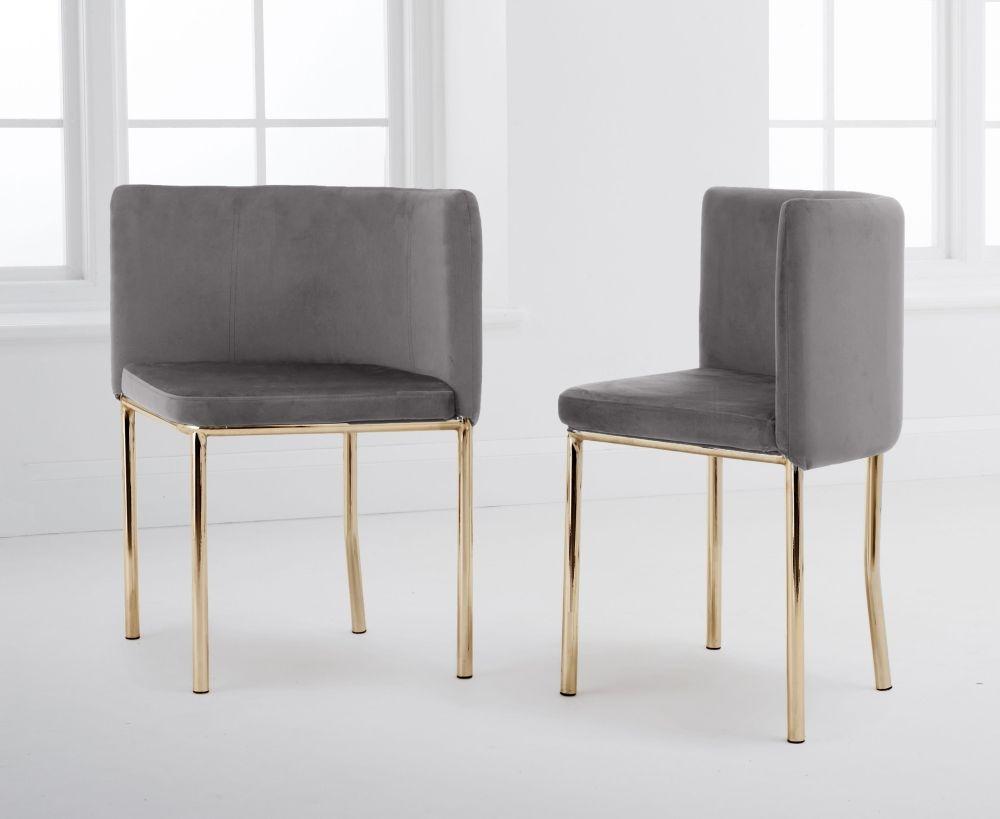 Mark Harris Abingdon Grey Velvet and Gold Dining Chair (Set of 4)
