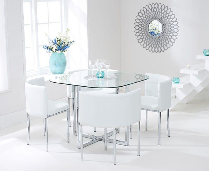 Mark Harris Abingdon Stowaway Dining Table and 4 White Dining Chairs