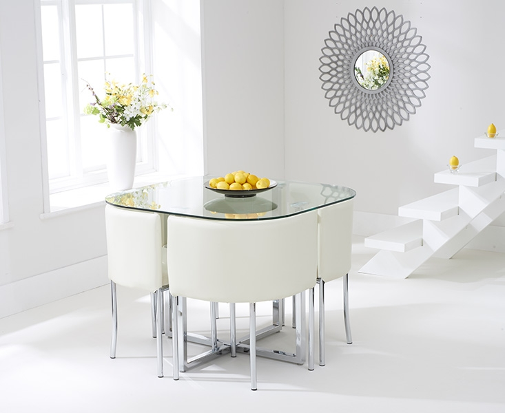 Mark harris abingdon stowaway glass dining table with 4 for Stowaway dining table