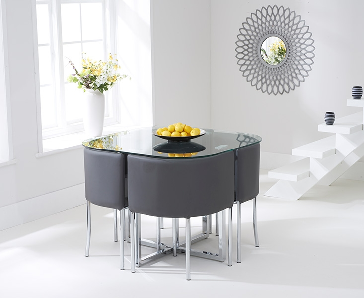 Grey Table And Chairs Part - 16: Mark Harris Abingdon Stowaway Glass Dining Set With 4 Grey Chairs