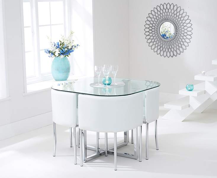 Buy mark harris abingdon stowaway glass dining set with 4 for Stowaway dining table
