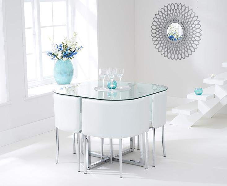 Mark Harris Abingdon Stowaway Glass Dining Table With 4