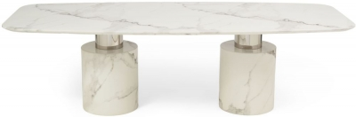 Mark Harris Adeline White Engineered Marble Oval Dining Table