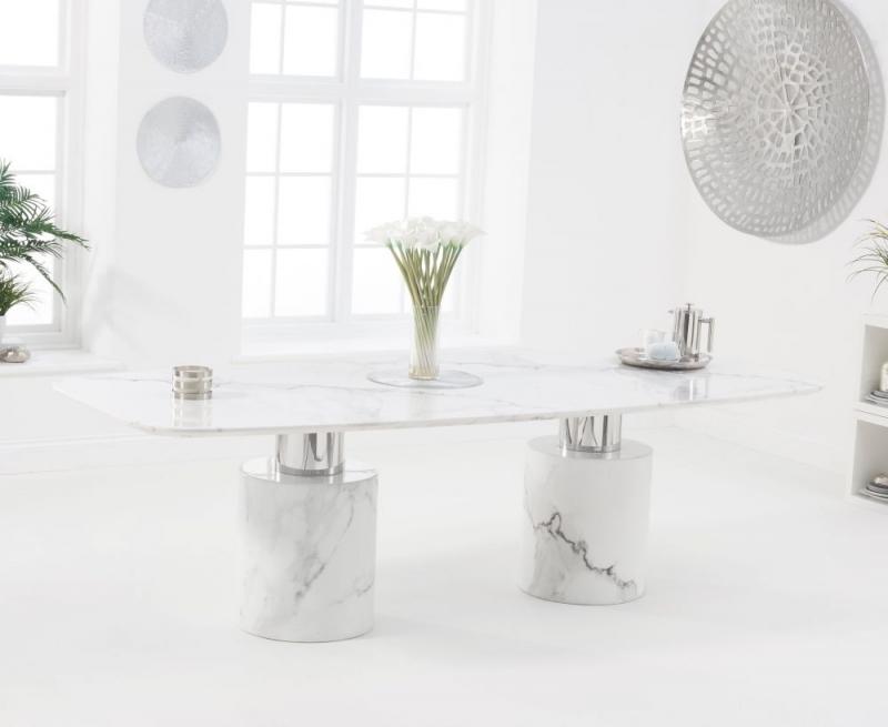 Mark Harris Adeline 260cm White Marble Dining Table