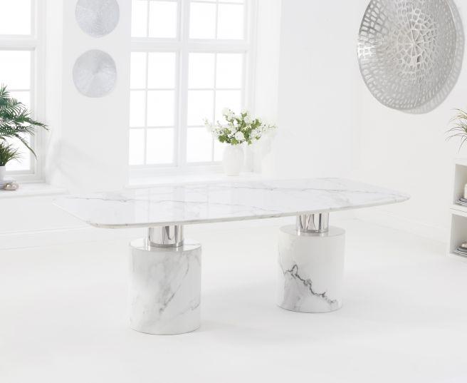 Mark Harris Adeline 220cm White Marble Dining Table