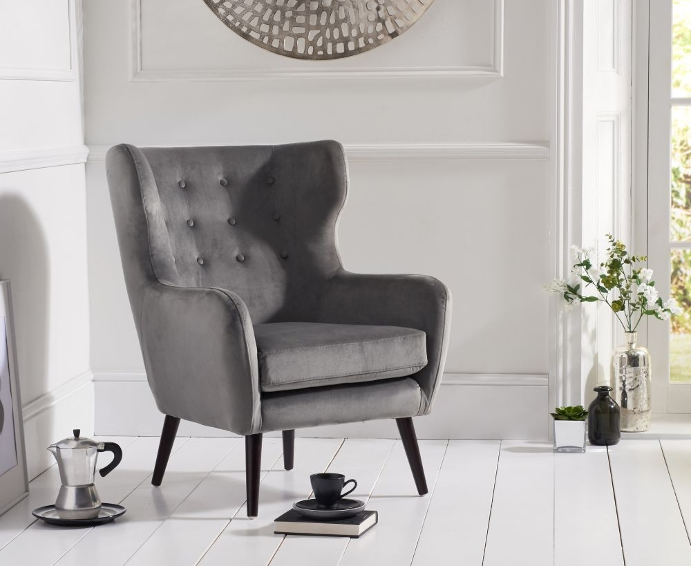 Mark Harris Adrianna Grey Velvet Accent Chair