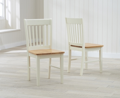Mark Harris Alaska Dining Chairs (Pair) - Oak and Cream
