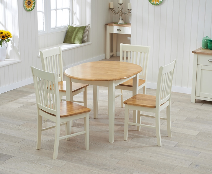 Mark Harris Alaska Oak and Cream Dining Set - 107cm Oval Extending with 2 Chairs