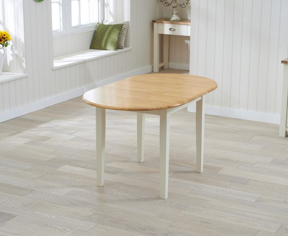 Mark Harris Alaska Oak and Cream Dining Table - 107cm Oval Extending