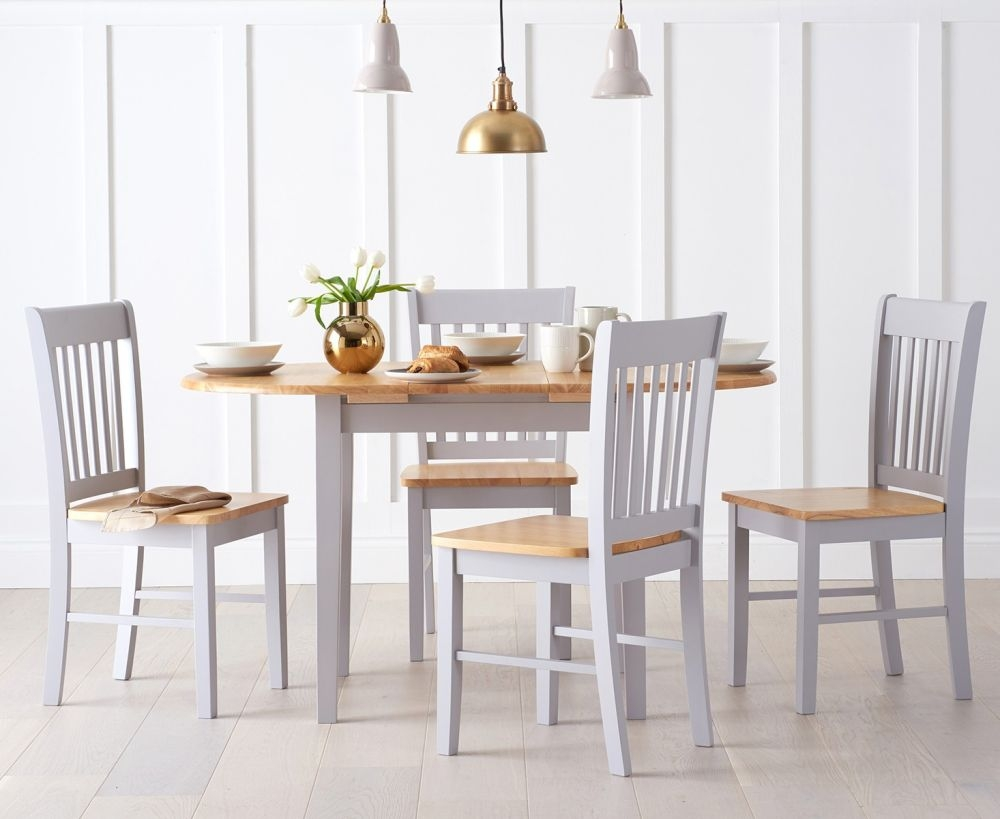 Mark Harris Alaska Oak and Grey Dining Set - 107cm Oval Extending with 2 Chairs