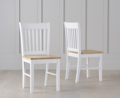 Mark Harris Alaska Dining Chairs (Pair) - Oak and White