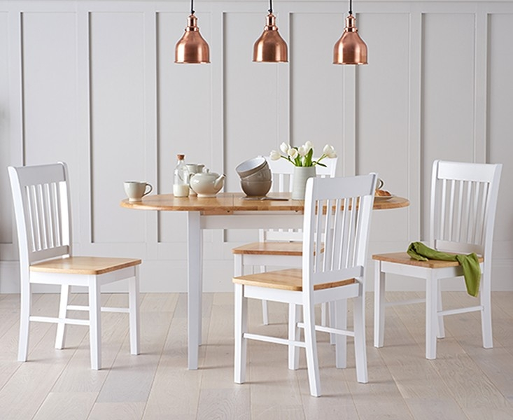 Mark Harris Alaska Oak and White 107cm Oval Extending Dining Set with 4 Chairs