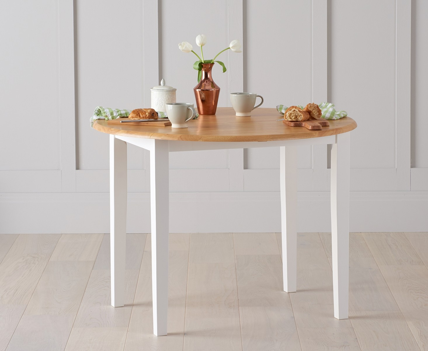 Mark Harris Alaska Oak and White Dining Table - 107cm Oval Extending