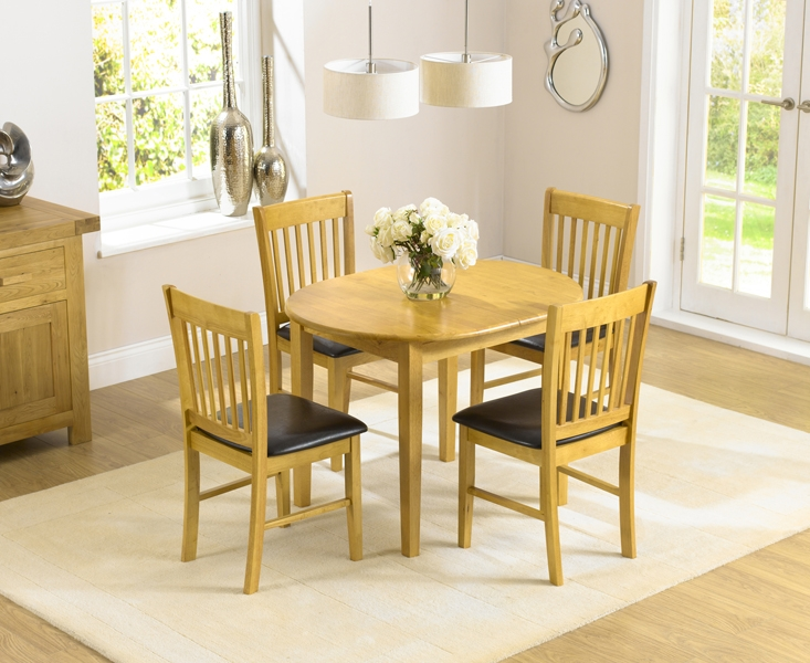 Mark Harris Alaska Solid Oak Dining Set - 107cm Oval Extending with 2 Chairs