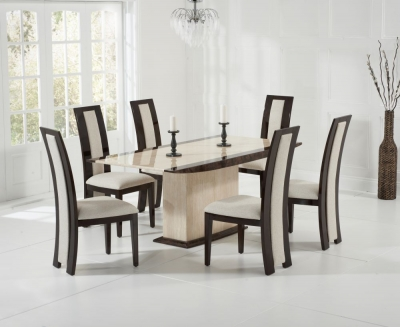 Mark Harris Alba Cream and Brown Constituted Marble Dining Set with 6 Rivilino Brown Dining Chairs