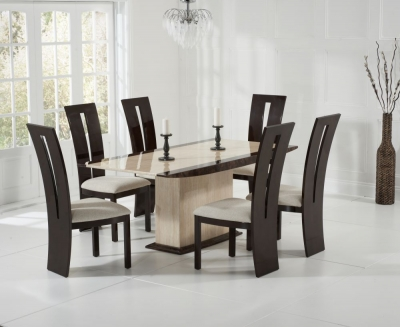 Mark Harris Alba Cream and Brown Constituted Marble Dining Set with 6 Valencie Brown Dining Chairs