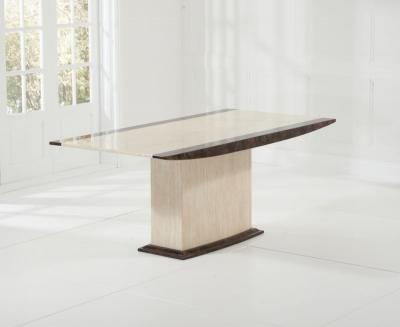 Mark Harris Alba Engineered Marble Dining Table - Cream and Brown