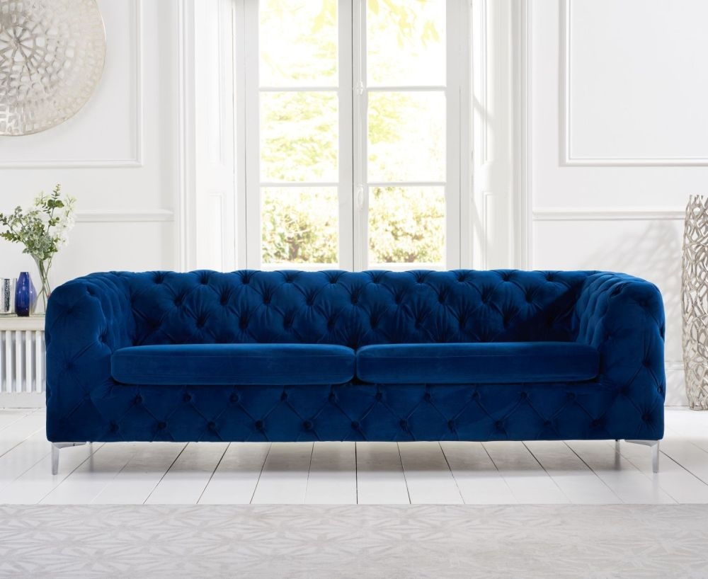 Mark Harris Alegra Blue Plush Fabric 3 Seater Sofa