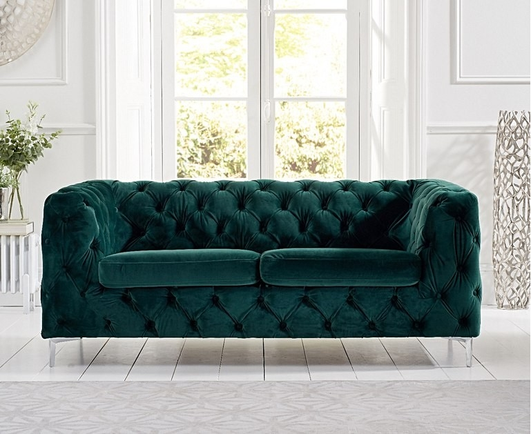 Mark Harris Alegra Green Plush Fabric 2 Seater Sofa