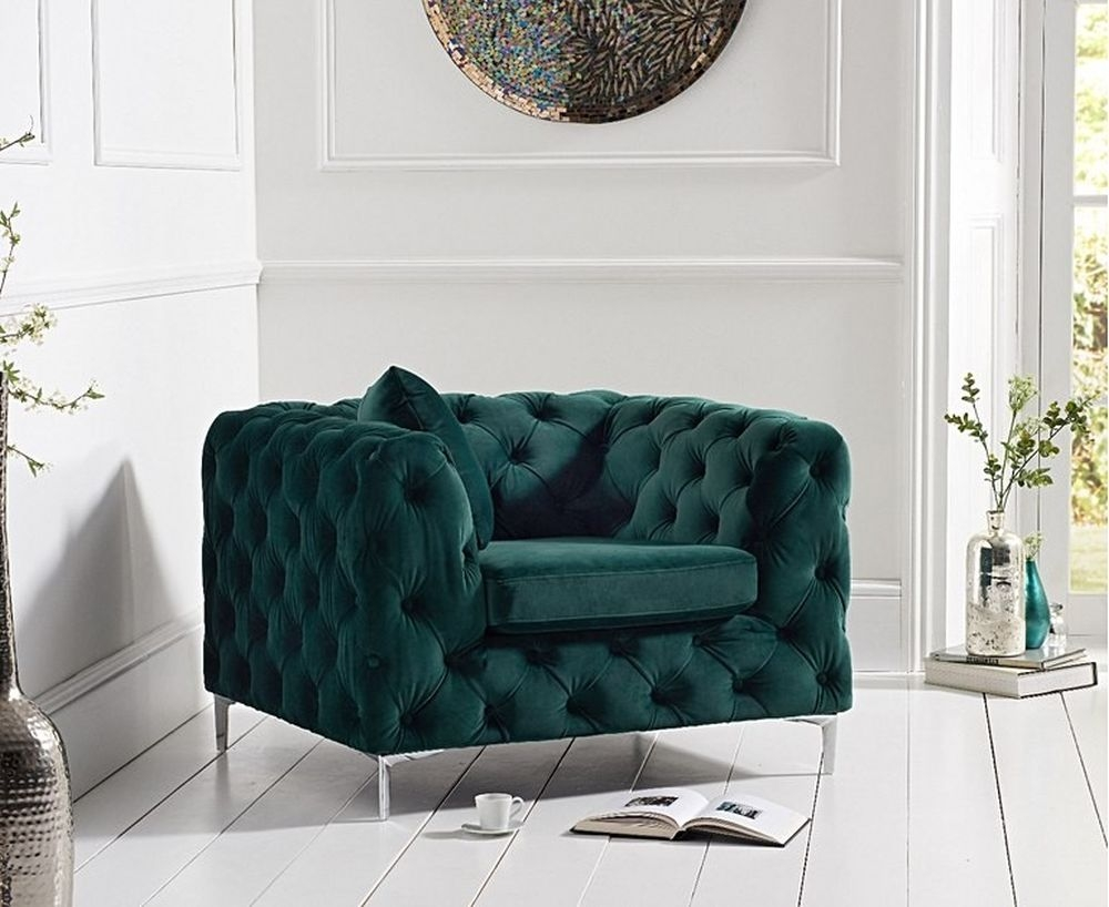 Mark Harris Alegra Green Plush Fabric Armchair