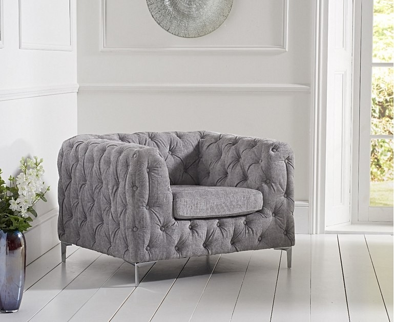 Mark Harris Alegra Grey Plush Fabric Armchair