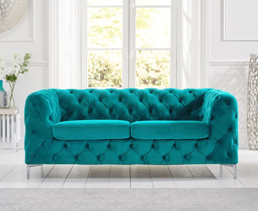 Mark Harris Alegra Teal Plush Fabric 2 Seater Sofa