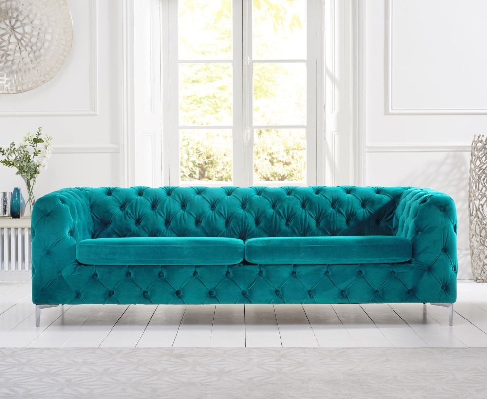 Mark Harris Alegra Teal Plush Fabric 3 Seater Sofa