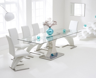 Mark Harris Amber 160cm Glass Extending Dining Set with 6 Hereford Z White Chairs