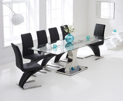 Mark Harris Amber Glass Extending Dining Table and 6 Hereford Z Chairs - Chrome and Black