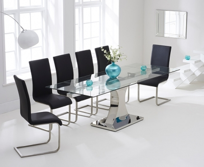 Mark Harris Amber Glass Extending Dining Table and 6 Malibu Chairs - Chrome and Black