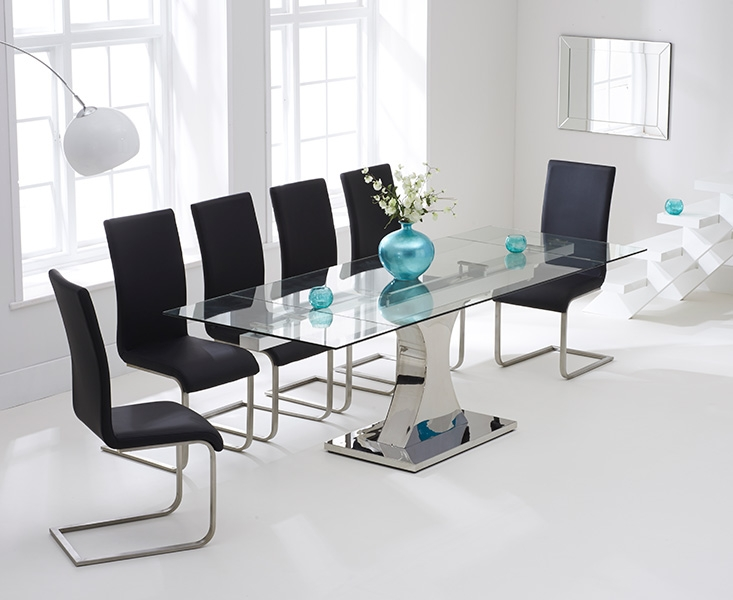 Mark Harris Amber 160cm Glass Extending Dining Table with  : 3 Mark Harris Amber 160cm Glass Extending Dining Table with 6 Malibu Black Chairs from choicefurnituresuperstore.co.uk size 733 x 600 jpeg 165kB