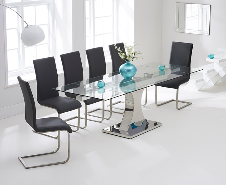 Mark Harris Amber 160cm Glass Extending Dining Table with 6 Malibu Grey Chairs