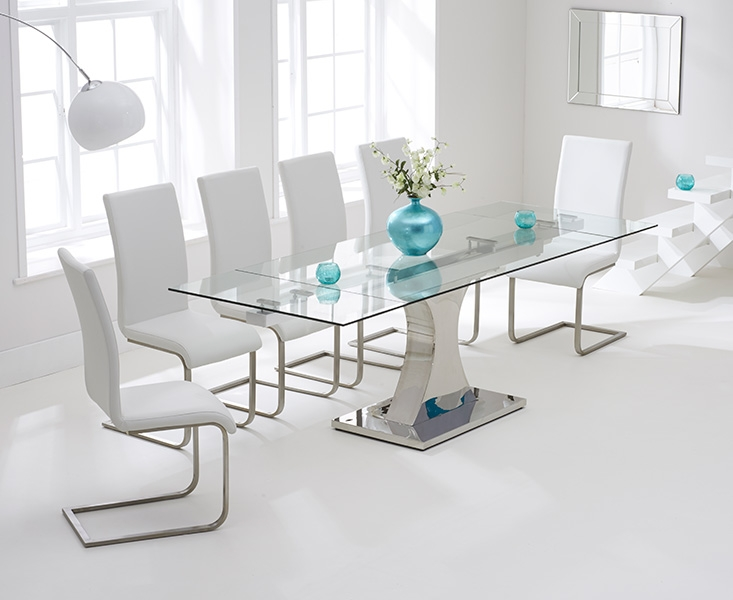 Mark Harris Amber Glass Extending Dining Table and 6 Malibu Chairs - Chrome and White