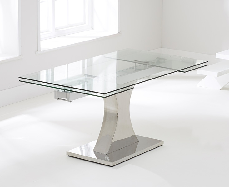 Mark Harris Amber Glass Dining Table - 160cm Rectangular Extending