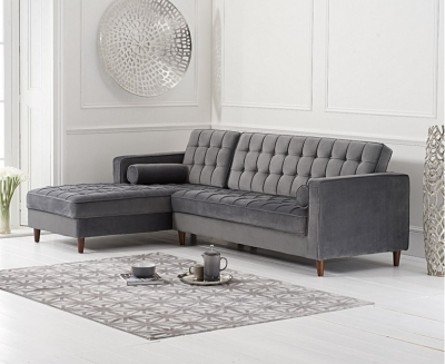 Mark Harris Anneliese Grey Velvet Left Facing Chaise Sofa
