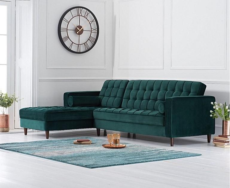 Mark Harris Anneliese Green Velvet Left Facing Chaise Sofa