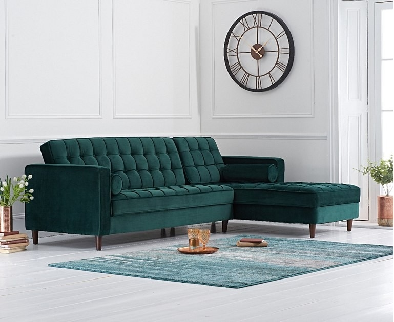 Mark Harris Anneliese Green Velvet Right Facing Chaise Sofa