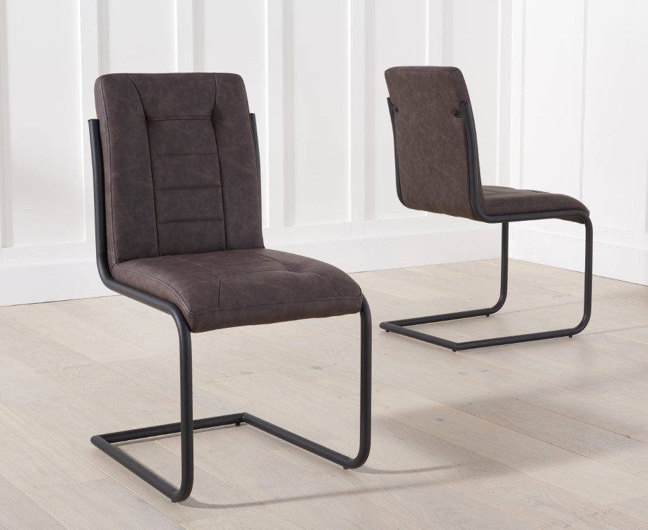 Mark Harris Archie Brown Faux Leather Dining Chair (Pair)