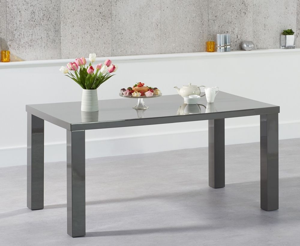 Mark Harris Ava Dark Grey High Gloss Medium Dining Table