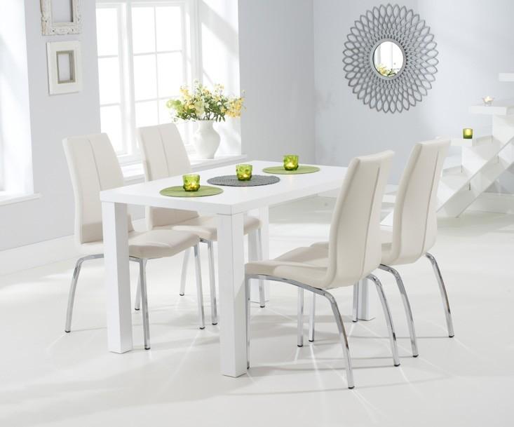 Mark Harris Ava Matt White Dining Set - 120cm Rectangular with 4 Carsen Ivory Chairs